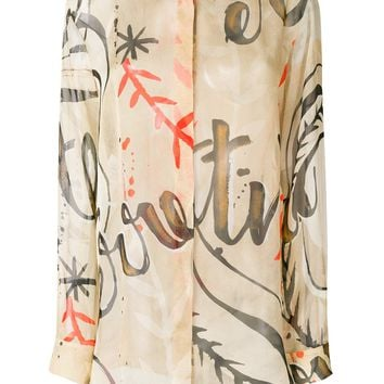 Sheer Print Blouse by Alberta Ferretti
