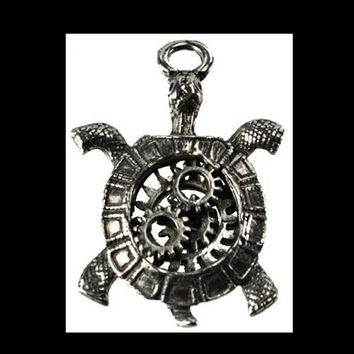 Steampunk Turtle Pendant Pewter Amulet