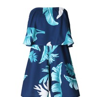 Streetstyle  Casual Attractive Strapless Flounce Leaf Printed Romper