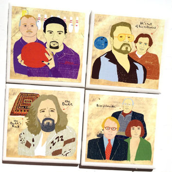 The Big Lebowski Coffee Mug Coasters -- Set of 4 Drink Tile Coasters