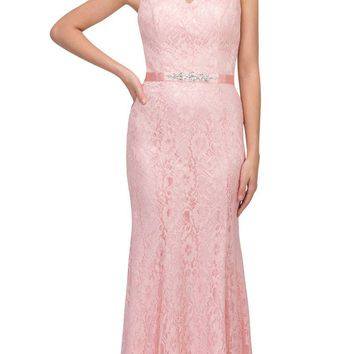 Blush V-Neck and Back Lace Long Formal Dress