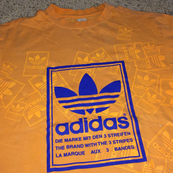 Sale!! Vintage Adidas Originals trefoil orange shirts the brand with the 3 stripes tee Free US Shipping