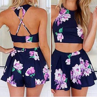 Sexy Flower Vest Tank Top Cami Skirt Shorts Set Two-Piece