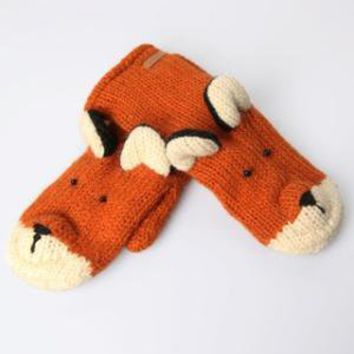 Knitwits Delux Fox Animal Mittens - Red - Punk.com