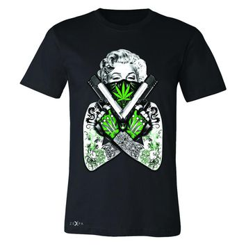 Zexpa Apparel™ Marilyn Monroe Weed Bandana Men's T-shirt American Beauty Guns Tee