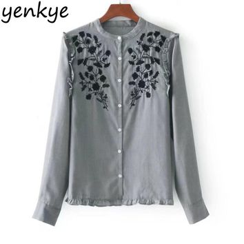 European Style Women Floral Embroidery Ruffle Blouse Shirt Casual Long Sleeve Work Wear Ladies Office Shirts