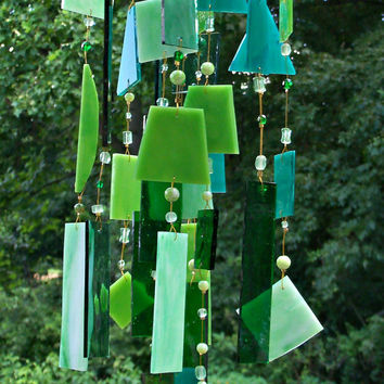 Handcrafted Stained Glass Wind Chime Green