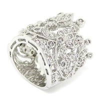 Artistic Regal Crown Cocktail Band/Ring w/White CZs