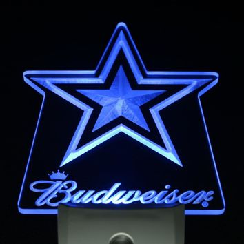ws0147 Dallas Cowboys Budweiser Bar Day/ Night Sensor Led Night Light Sign