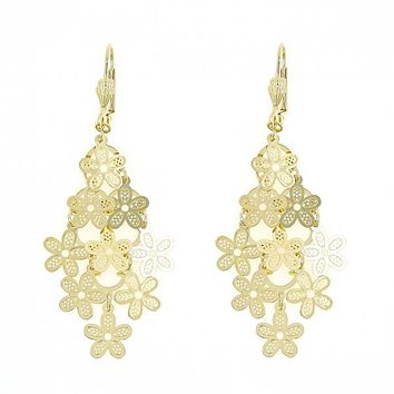 Gold Layered 5.075.006 Chandelier Earring, Flower Design, Polished Finish, Gold Tone
