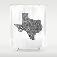 Typographic Texas Shower Curtain by CAPow!