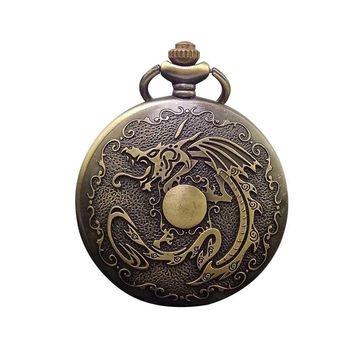 Cindiry Bronze Chinese Dragon Pendant Watch Necklace Chain Retro Quartz Pockets Fob Men's Ladies Gifts