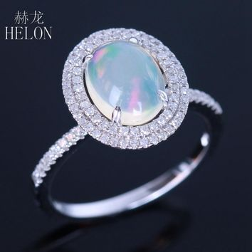 HELON Oval Cut 9x7mm Milk White Opal Solid 14K White Gold Pave Natural Diamonds Ring Engagement Wedding Women's Jewelry Ring