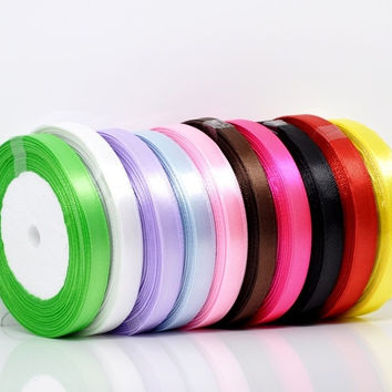 """10Rolls(10x25yards) Mixed 3/8"""" Wide Satin Ribbon Scrapbooking (Size: 10 mm, Color: Multicolor) = 1705707076"""