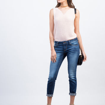 Faded Cropped Skinny Jeans
