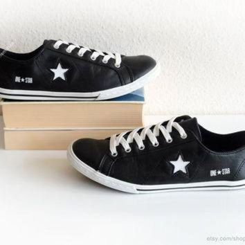 QIYIF black leather converse one star low tops vintage leather sneakers black trainers wit