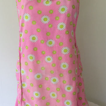 1940s Full Apron Pink Flowered Daisies H Back Vintage Kitchen Retro Housewife