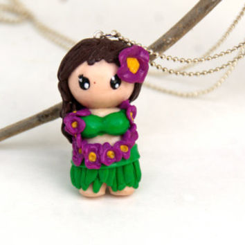 Hawaiian Girl Hula Dancer Necklace, Polymer Clay Handmade Chibi