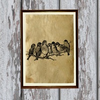 Birds on branch print on Antiqued paper Animal art Antique decoration 8.3 x 11.7 inches