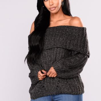 Laura Off the Shoulder Sweater - Charcoal