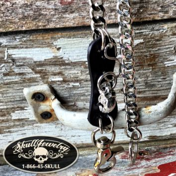 Leather/Stainless Steel Skull Wallet Chain (WALLET_CHAIN011)