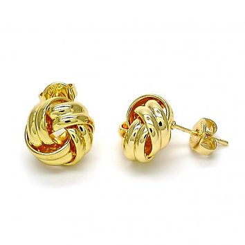 Gold Layered 02.63.2371 Stud Earring, Love Knot Design, Polished Finish, Golden Tone
