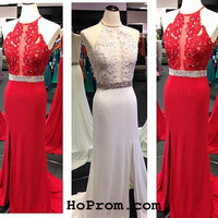 Red Lace Prom Dresses Red Long Prom Dress Red Evening Dress