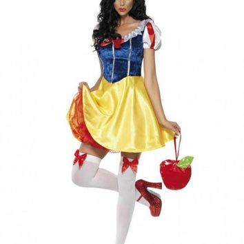 DCCKHY9 Adult Snow White Costume Cosplay Fantasia Halloween Costumes For Women Princess Dress Fancy Party Dress