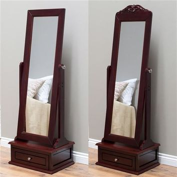 Full length adjustable Mirror with storage drawer an cherry wood finish