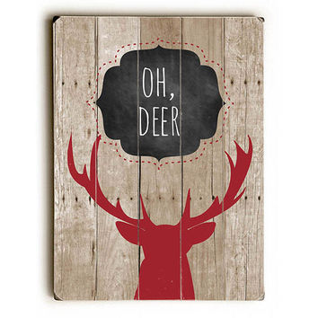 Oh Deer by Artist Ginger Oliphant Wood Sign