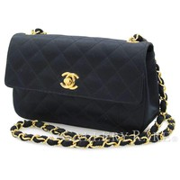 CHANEL Chain Shoulder Bag Matelasse Satin Black CC France Authentic 4463702