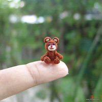 dollhouse miniature chocolate Teddy Bear - micro crochet stuffed animal - 2/3 inch