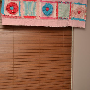 Rag Style Curtain Valance With Ruffle Flowers in Hot Pink, Turquoise, and Baby Pink Fabrics, Measures 20x55 inches