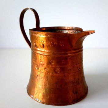 Vintage hand - hammered Copper Serving Coffee Pot with handle, Vintage Turkish coffee pot, coffee maker