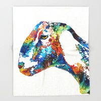 Colorful Goat Art By Sharon Cummings Throw Blanket by Sharon Cummings | Society6
