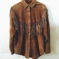 Vintage, JH Collectibles, Soft Suede, Nutmeg, Fringe, Shirt, Jacket, Fall Fashion