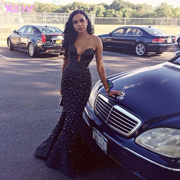 Black Crystal Mermaid Prom Dresses Party Evening Gowns Sweetheart Stain Zipper Back Court Train Formal Women Dress