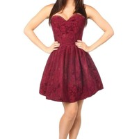 Top Drawer Plus Size Steel Boned Wine Lace Empire Waist Corset Dress
