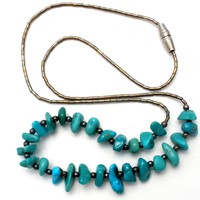 Turquoise Nugget Liquid Sterling Silver Necklace Vintage