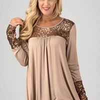 Baby Doll Sequined Top - Gold