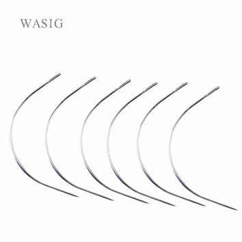 1 bag 144pcs 9CM C Shape Curved Needles Threader Sewing/Weaving Needles for Human Hair Extension Weft Weaving