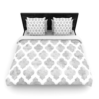 "Amanda Lane ""Gray Moroccan"" Grey White Lightweight Duvet Cover"