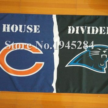 NFL Chicago Bears Carolina Panthers House Divided Flag 3x5ft 150x90cm Polyester Flag Banner 05017, free shipping