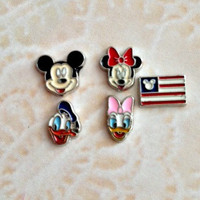 Floating charms mickey...minnie...donald...daisy...mickey flag