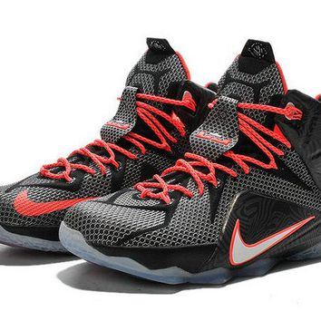 Shop LeBron 12 Court Vision Black Bright Crimson White 684593 016 Brand sneaker