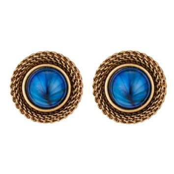 Blue Stone Clip Earrings