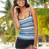 Profile by Gottex Printed Ruffle-Trim Tankini Top & Slit Swim Skirt