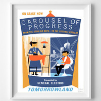 Vintage Disneyland, Print, Disneyland Poster, Carousel of Progress, Tomorrowland, Vintage Print, Home Decor, Giclee Art, Halloween Decor