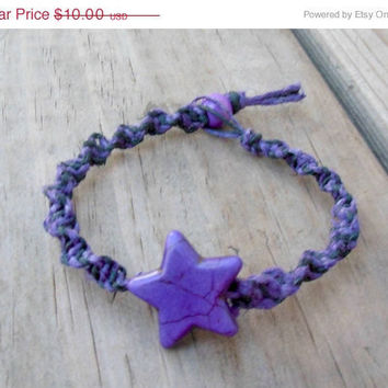 15% off CIJ SALE Hemp Bracelet Macrame Purple Star Spiral Knot