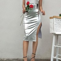 Silver High Waist Split Side Chic Women Skirt